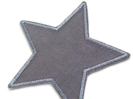 Bild: Cordflicken Stern grau, Flicken zum aufbügeln aus Cord für Cordhosen