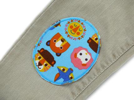 Bild: Hosenflicken zum aufbügeln für helle Hosen, Knieflicken mit Tieren für Kinder