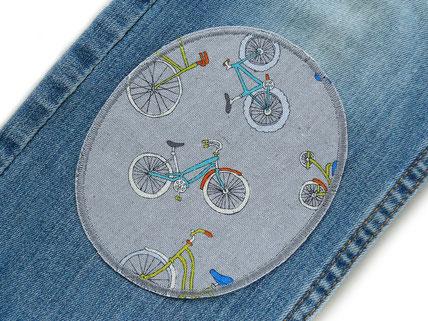 Bild: Bügelflicken für Kinder mit Fahrrädern, robuste Flicken zum aufbügeln