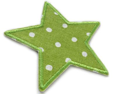 !B: grüner Stern mit weißen Punkten als Flicken zum aufbügeln