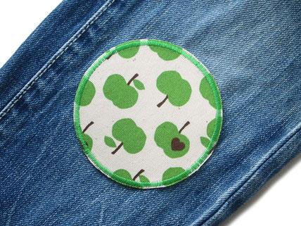 Bild: Hosenflicken Applikation Flicken Apfel grün, Knieflicken zum aufbügeln für Kinder