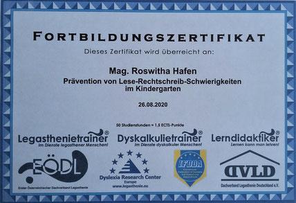 Fortbildung zum Thema Prävention von Lese-Rechtschreibschwierigkeiten im Kindergarten positiv abgeschlossen!