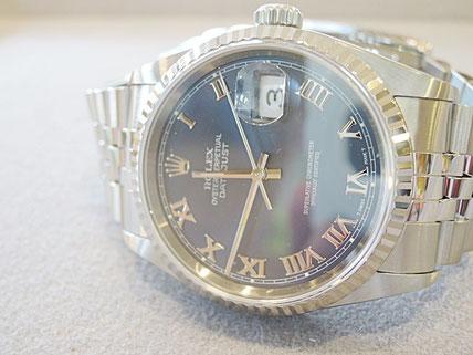 私どもで純正部品が手に入らないため、日本ロレックスへ修理取次させていただいたROLEX腕時計。