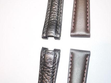 左が今回の革ベルトの形。右が一般的な革ベルトの形。違いが分かりますか?