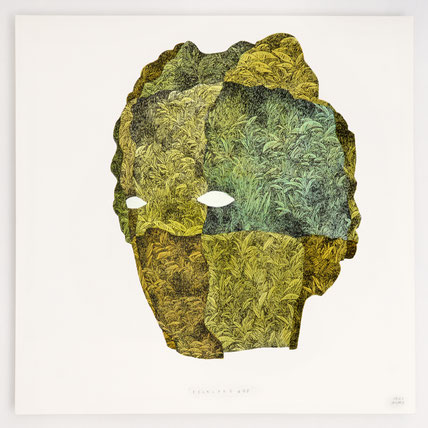 """""""FOLKLORE II"""" / Encre et aquarelle sur papier / 40x40cm"""