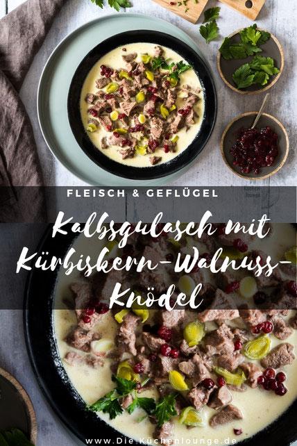 Geschmortes Kalbsgulasch mit Kürbiskern-Walnuss-Knödel