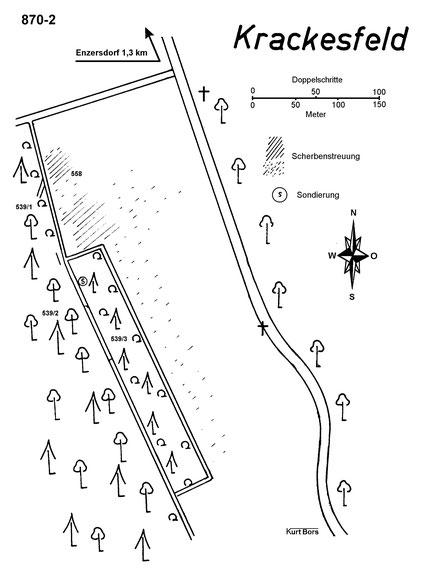 """Fundgebiet auf der Flur Kralesfeld, wobei """"Krackesfeld"""" ein Schreibfehler ist (Skizze von Kurt Bors)"""