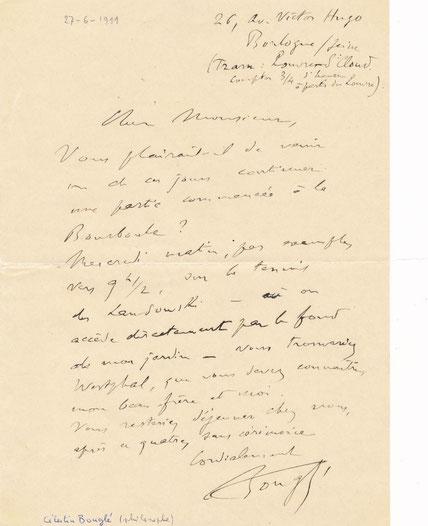 Célestin Bouglé, lettre autographe signée