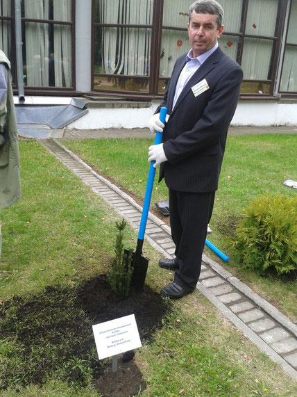 Chefingenieur Nicolej pflanzt das Bäumchen für die Bobbie's bei der 20-Jahrfeier