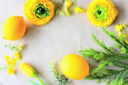 テーブルにぐるりと円を描いて置かれたレモンと黄色の花たち。