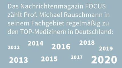 Prof. Dr. Rauschmann zählt seit Jahren zu den TOP-Medizinern im FOCUS Magazine.
