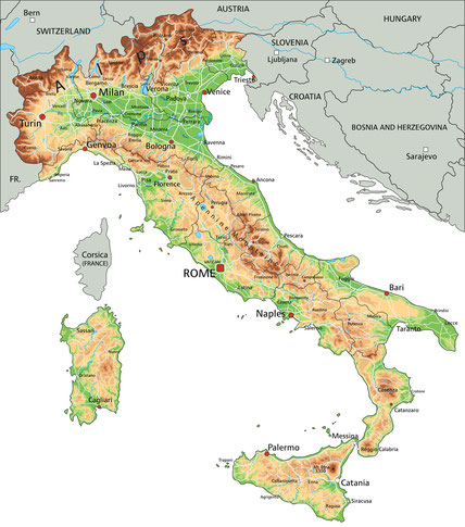 carte italie relief