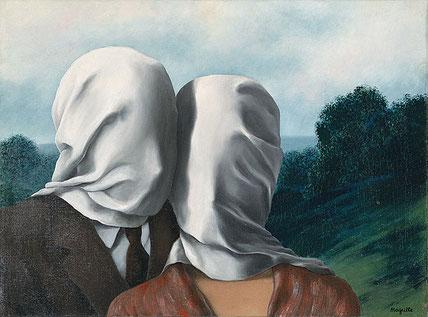"""Rene Magritte: """"Les Amants""""- oil on canvas, 40x60 cm."""