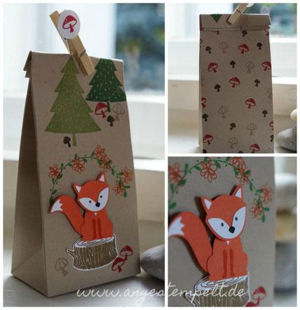 Punch Board für Geschenktüten mit Fuchs von Stampin´Up! - Patricia Stich 2016
