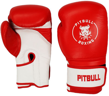 Pitbull Boxing Raging Red leren bokshandschoenen