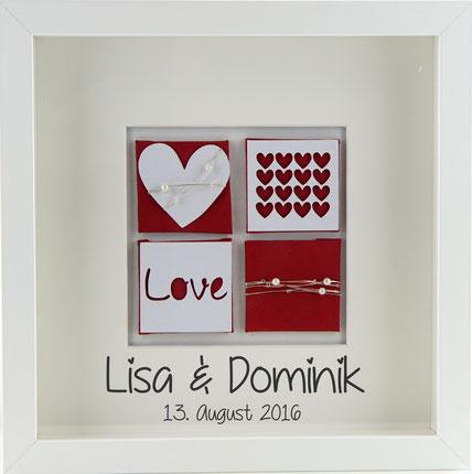 Personalisiertes Hochzeitsgeschenk Hochzeitsbild love rot