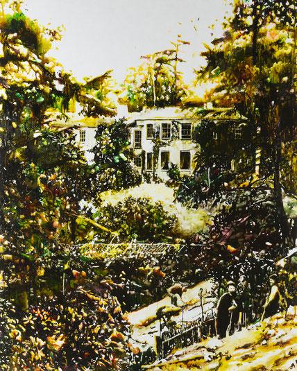 Greenhill House, Glasmalfarben auf MDF Platte 100 cm x 135 cm, 2021