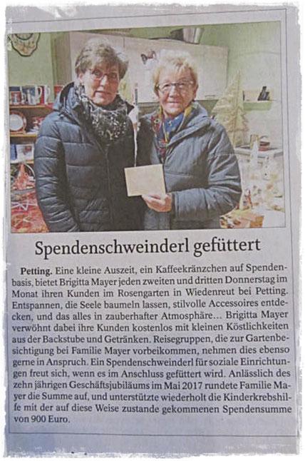 Zeitungsausschnitt Südostbayerische Rundschau vom 03.01.2018 Spendenübergabe Kinderkrebshilfe in Teisendorf am 12. Dezember 2017