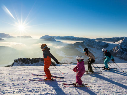 Sunset skiing Le Grand Bornand