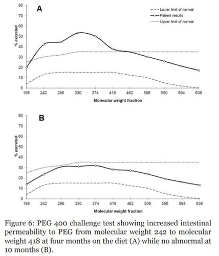 Grafische Darstellung des PEG400-Tests zur Bestimmung der Funktion der Darmbarriere. Nach 10 Monaten Paleodiät war die Darmbarriere eines Patienten mit Morbus Crohn nicht mehr übermäßig durchlässig.
