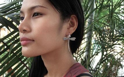 Boucles d'oreilles en argent libellules