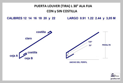 """PUERTA LOUVER L a 30° (TIRA) PARA ARMAR EN PERFILES DE ¾""""  1""""  1 ½""""  2""""  2 ½""""  3""""  3 ½""""  Y 4"""""""