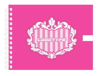 リング製サイン帳 ピンクカラー別注製作イメージ