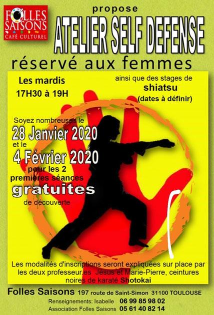 atelier self défense Toulouse à Folles saisons