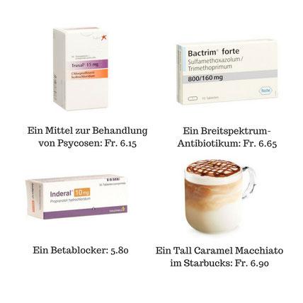 Viele Medikamente sind billiger als ein Kaffee. Den meisten Menschen ist dies nicht bewusst, denn in den Medien wird nur über die teuren Medikamente gesprochen.