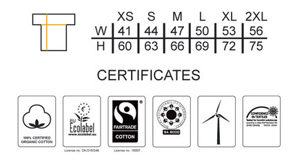 Grössentabelle   Ladies Classic T-Shirt NEUTRAL    100% GOTS und Fairtrade zertifiziert