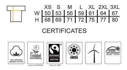 Grössentabelle   Unisex Sweatshirt NEUTRAL    100% GOTS und Fairtrade zertifiziert