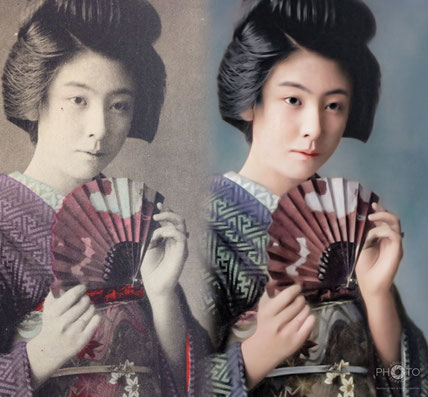 修復・色再現 作業前→作業後比較 明治・大正期の彩色された美人絵葉書