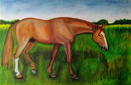 Neville 7 by Nintendo K - Brandenburg gelding, oil on canvas, 65 x 100 cm, 2017