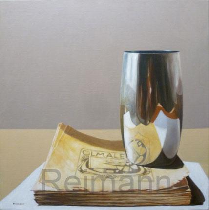 Ölbild mit spiegelndem Becher und Buch