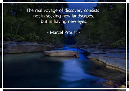 The real voyage of discovery consists not in seeking new landscapes, but in having new eyes. Marcel Proust