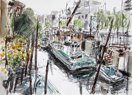 東京・北品川橋付近の船