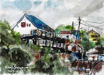 神奈川県・真鶴の丘の家々
