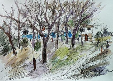 境川遊水地公園周辺に家々