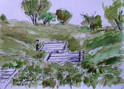 神奈川県・湘南国際村の南斜面の丘と階段