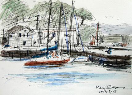 神奈川県・真鶴漁港のヨット