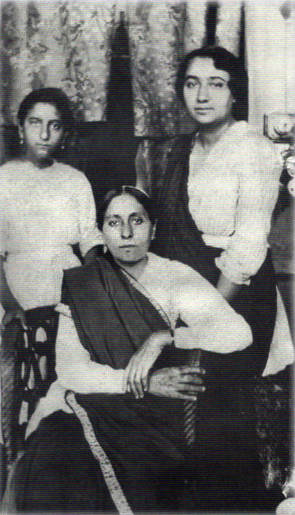 Mid-1923 _ Quetta ( then British West India ) : Standing ( L-R ) Khorshed K.,  Khorshed R.Irani [ Dr.Goher's mother ] & seated Gilmai K. Irani.  Courtesy of Glow Int.magazine  Fall 2018