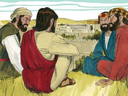 """Alors qu'ils sont assis sur le mont des oliviers, les disciples de Jésus lui posent cette question : « """"Dis-nous, quand cela arrivera-t-il et quel sera le signe de ton retour et de la fin du monde?"""""""