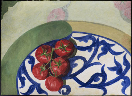 francois beaudry watercolor and gouache painting still life tomatoes plate blue table series study 1