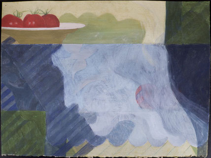 francois beaudry watercolor and gouache painting still life tablecloth tomatoes plate blue table series study 3