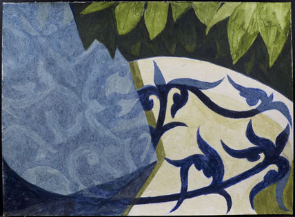 francois beaudry watercolor and gouache painting still life tablecloth plate leaves motif blue table series study 4