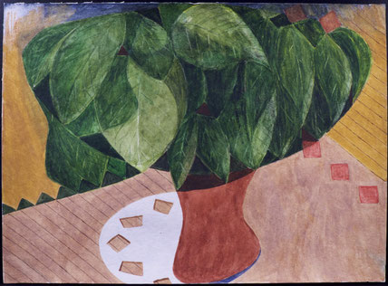 francois beaudry watercolor and gouache painting still life flowerpot leaves tablecloth blue table series study 6
