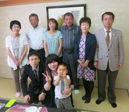 橿尾裕樹・磨希の結婚お祝い食事会(ホテル日航高知旭ロイヤル、2013.9.22)
