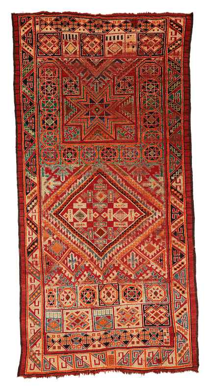 Teppich. Zürich. Semi-antique Rug from Morocco, very big, colorfull. Handgeknüpfter Teppich, semi antik, Marokko.