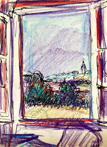 """Fensterausblick aus dem Salon des """"Schwarzen Hauses"""" auf die Kirche von Solingen Widert,  undatiert"""