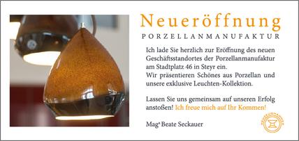 Flyer Neueröffnung Rückseite, Beate Seckauer, Neuzeughammer Keramik